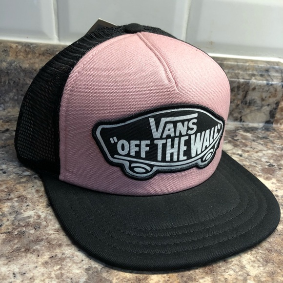 08467093 Vans Accessories   Off The Wall Pink Black Trucker Hat   Poshmark